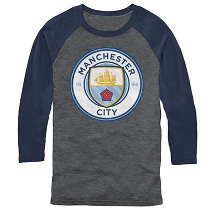 Manchester City Logo Raglan Long Sleeve Soccer Gray T-Shirt