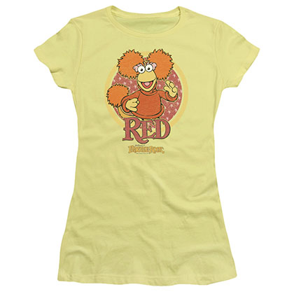 Fraggle Rock Red Circle Yellow Juniors T-Shirt