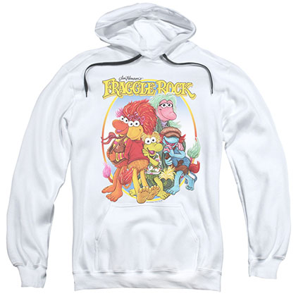 Fraggle Rock Group Hug White Pullover Hoodie