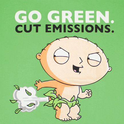 Family Guy Stewie Go Green Cut Emissions Graphic Tee Shirt