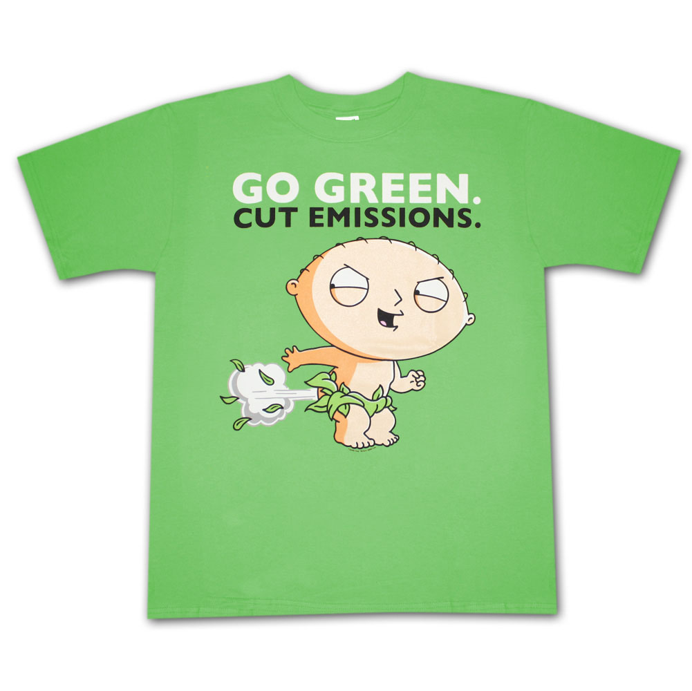 Family guy stewie go green cut emissions graphic tee shirt for Family guy t shirts amazon