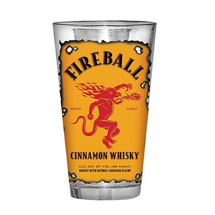 Fireball Cinnamon Whisky Burnt Label Pint Glass