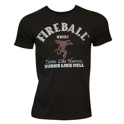 Men's Fireball Black Text Label Tee Shirt