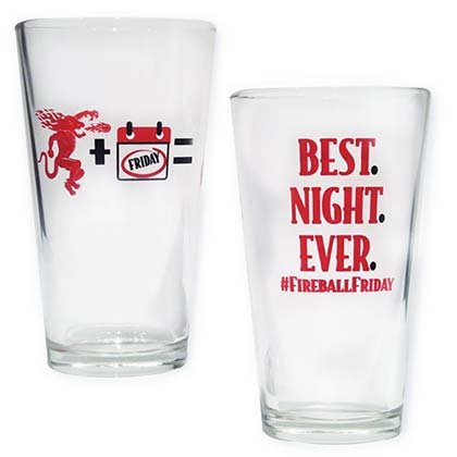 Fireball Cinnamon Whisky Friday Best Night Ever Pint Glass