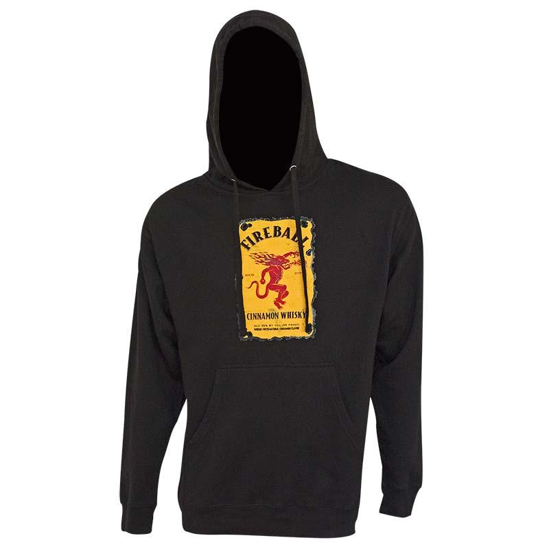 Fireball Black Bottle Label Design Hoodie