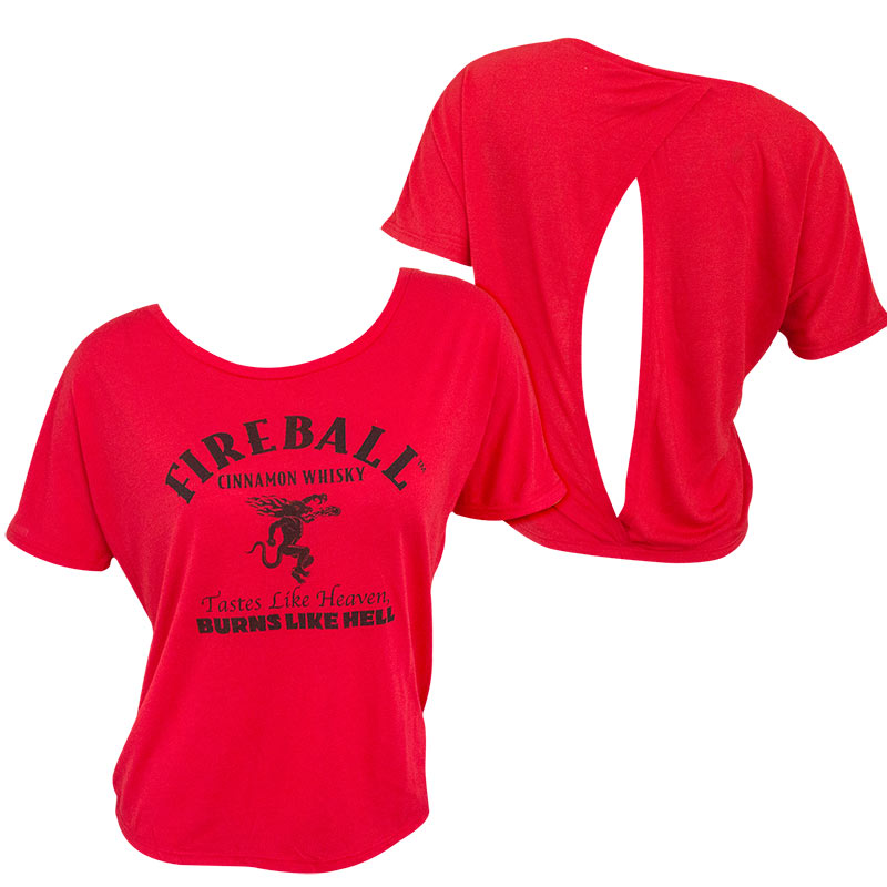 Fireball Whisky Logo Open Back Women's Red T-Shirt