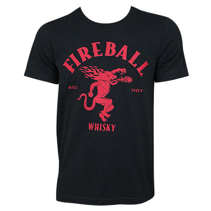 Fireball Men's Black Large Dragon Logo T-Shirt