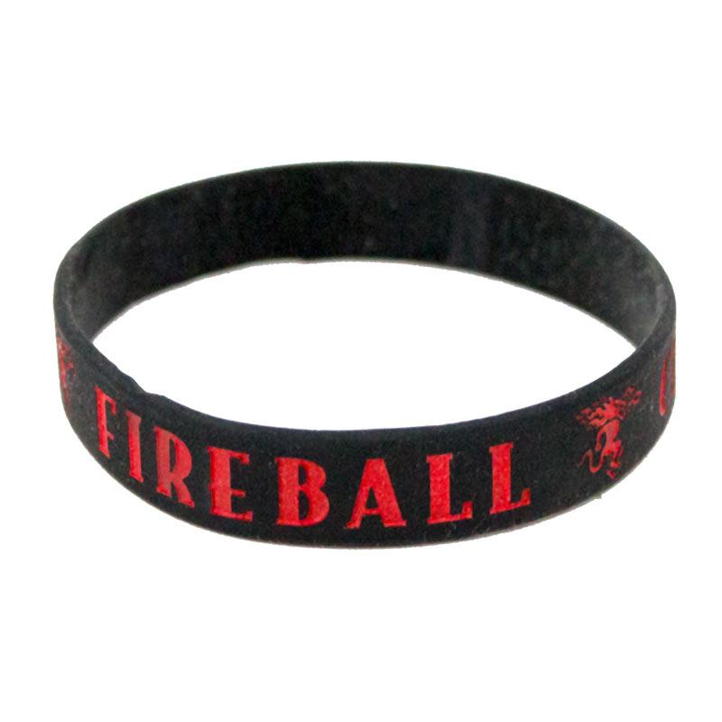 Fireball Whisky Black Rubber Bracelet