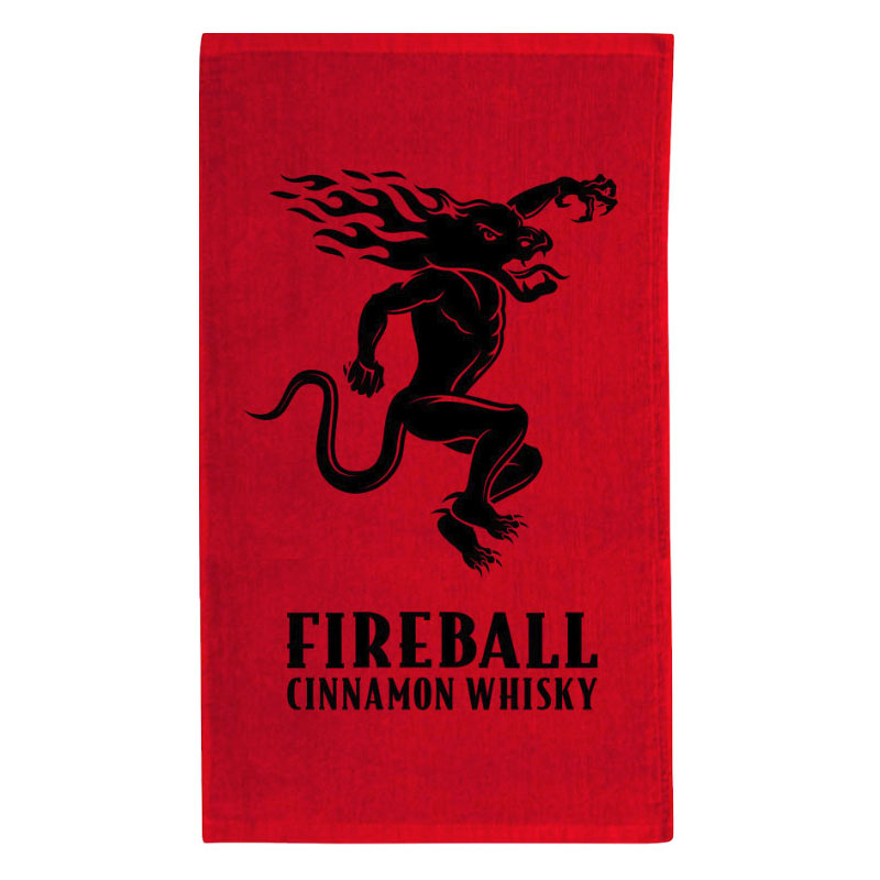 Fireball Whiskey Logo Red Beach Towel