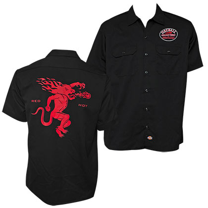 Fireball Whiskey Button Down Red Hot Work Shirt