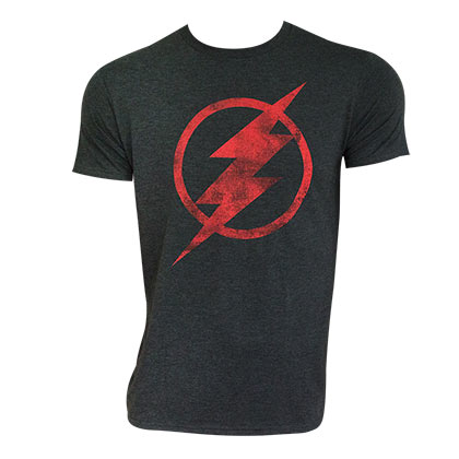 The Flash Men's Gray Distressed Logo T-Shirt