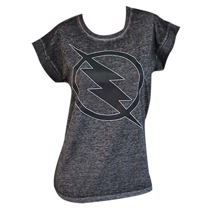 The Flash Women's Grey Rolled Sleeve T-Shirt