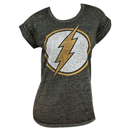 The Flash Logo Women's Rolled Sleeves Tshirt