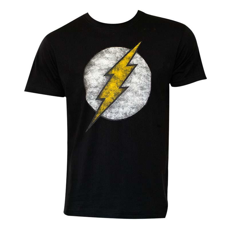 The Flash Men's Black Distressed Logo T-Shirt