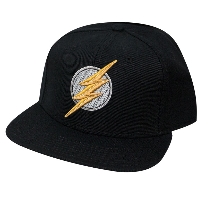 The Flash Black Snapback Embroidered Logo Hat