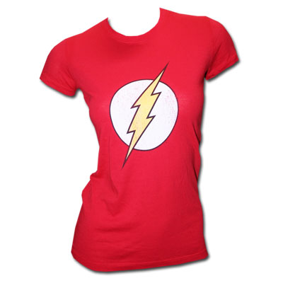 The Flash Logo Superhero Red Ladies Graphic TShirt
