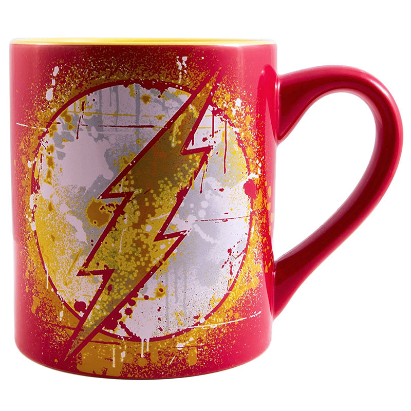 The Flash Paint Splatter 14oz Red Coffee Mug