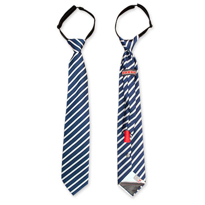 White And Navy Blue Flask Necktie