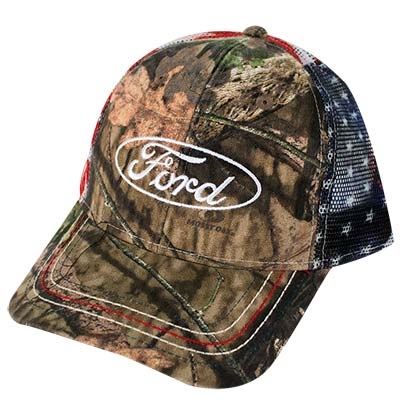 Ford Adjustable American Flag Camo Mesh Trucker Hat