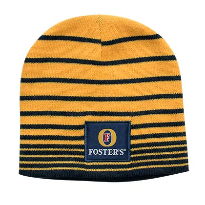 Fosters Striped Yellow Knit Beanie