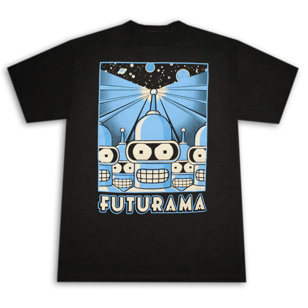 Futurama Bender Army Black Graphic Tee Shirt