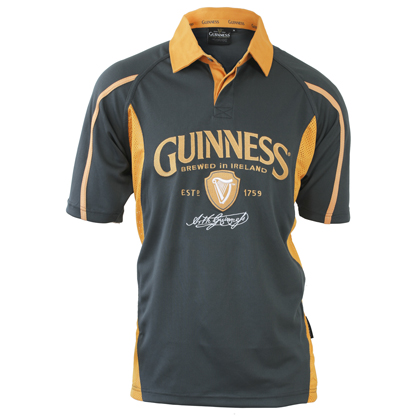 Guinness Jersey Mesh Grey Yellow Polo Rugby Shirt
