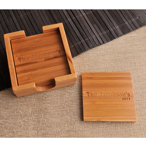 Personalized Bamboo Custom Coaster Set