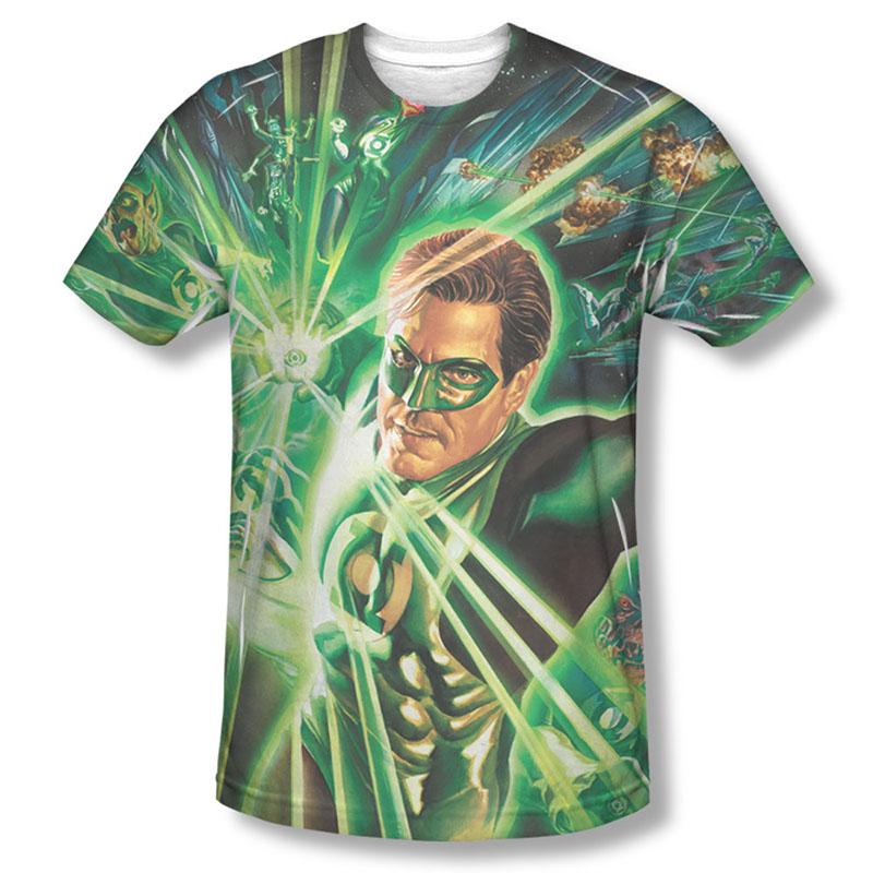 Green Lantern Men's Green Sublimation Burst T-Shirt