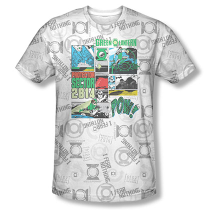 Green Lantern Men's White Sublimation Sector Protector Tee Shirt