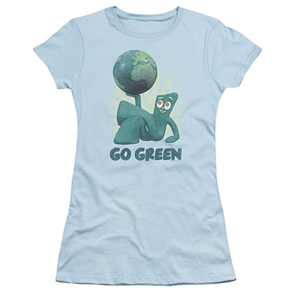 Gumby Go Green Blue Juniors T-Shirt