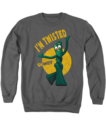 Gumby Twisted Gray Crew Neck Sweatshirt