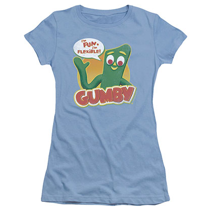 Gumby Fun & Flexible Blue Juniors T-Shirt