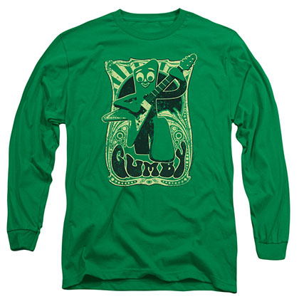 Gumby Vintage Rock Poster Green Long Sleeve T-Shirt