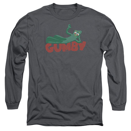 Gumby On Logo Gray Long Sleeve T-Shirt