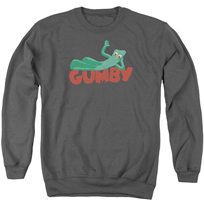 Gumby On Logo Gray Crew Neck Sweatshirt