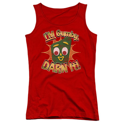 Gumby Darn It Red Juniors Tank Top