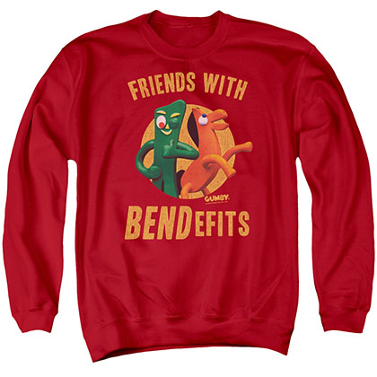 Gumby Bendefits Red Crew Neck Sweatshirt
