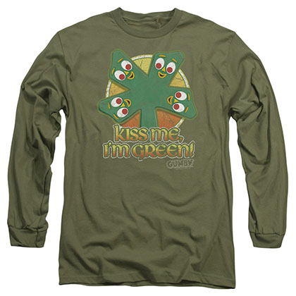Gumby Kiss Me Green Long Sleeve T-Shirt