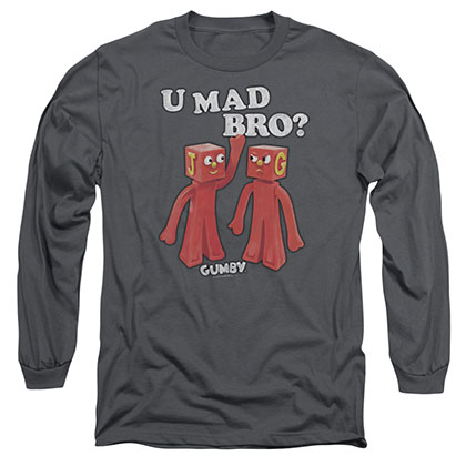 Gumby U Mad Bro Gray Long Sleeve T-Shirt