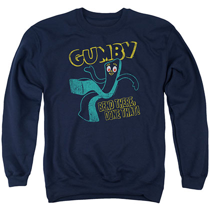 Gumby Bend There Blue Crew Neck Sweatshirt