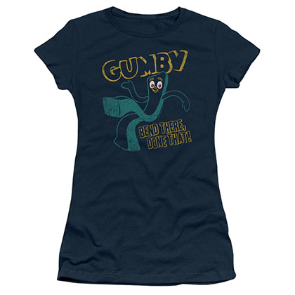 Gumby Bend There Blue Juniors T-Shirt