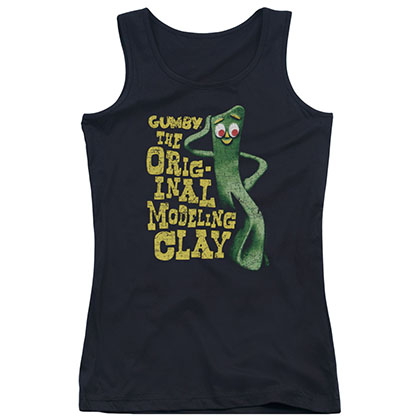 Gumby So Punny Black Juniors Tank Top