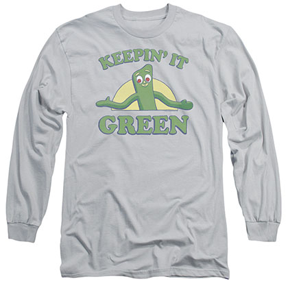 Gumby Keepin It Green Gray Long Sleeve T-Shirt