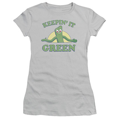 Gumby Keepin It Green Gray Juniors T-Shirt