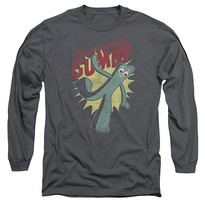 Gumby Bendable Gray Long Sleeve T-Shirt