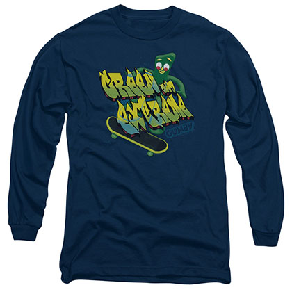 Gumby Green And Extreme Blue Long Sleeve T-Shirt