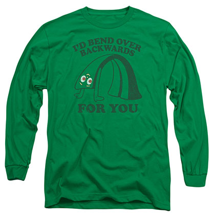 Gumby Bend Backwards Green Long Sleeve T-Shirt