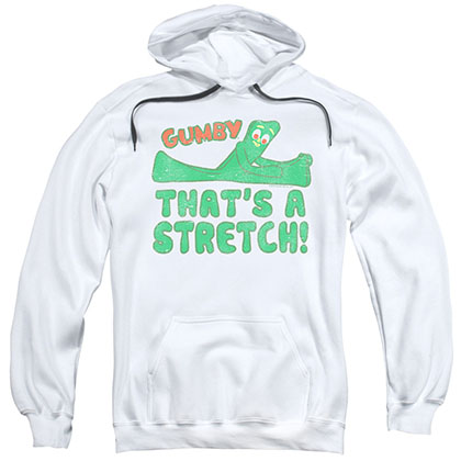 Gumby That's A Stretch White Pullover Hoodie