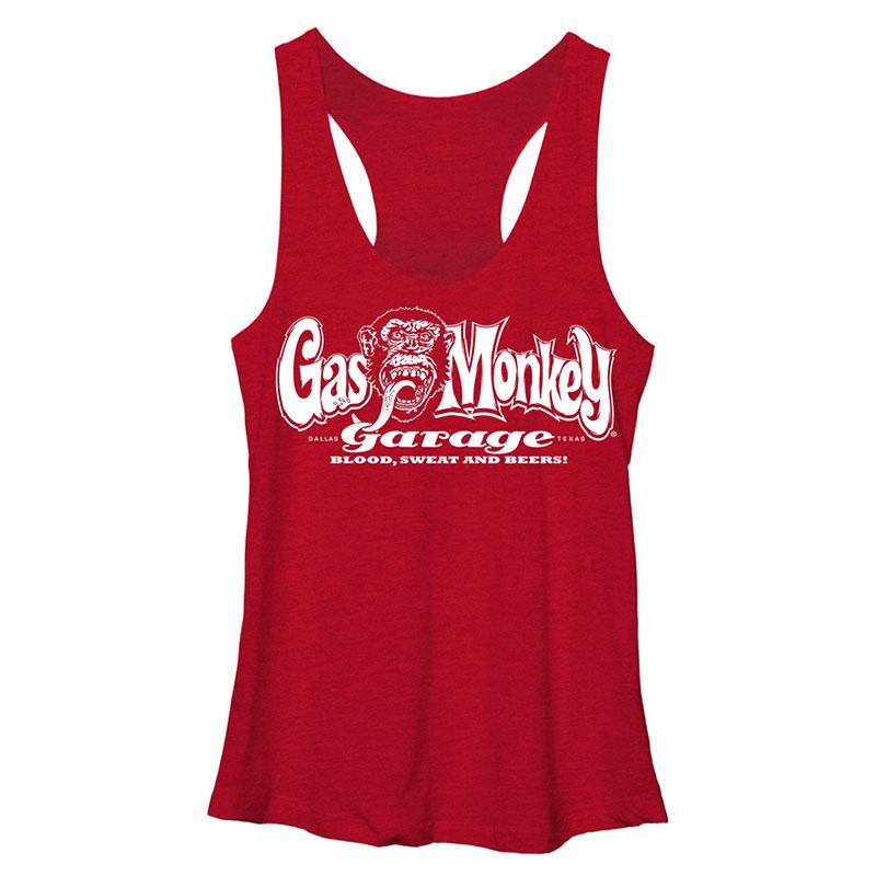 Gas Monkey Garage Blood Sweat Beers Red Juniors Tank Top
