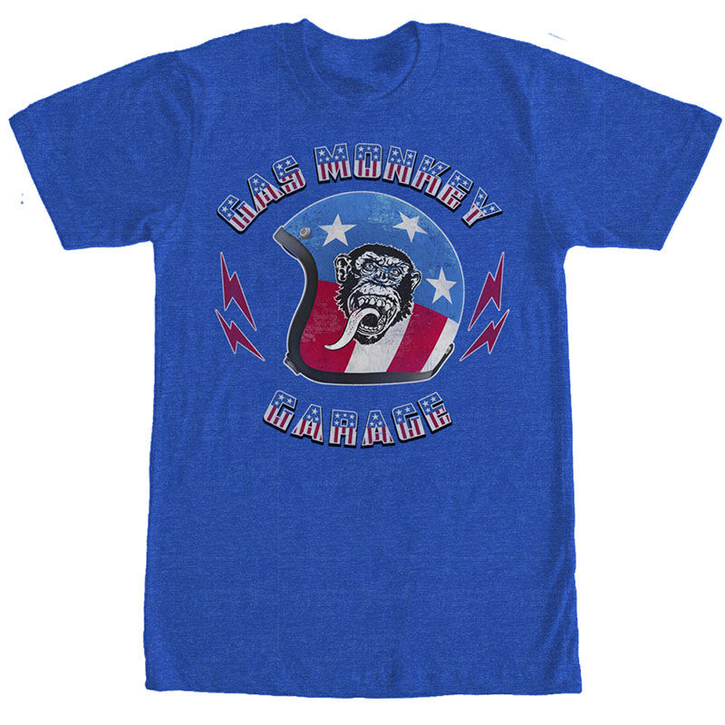 Gas Monkey Garage Stars Stripes Helmet Blue T-Shirt
